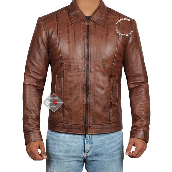 Reeves Mens Dark Brown Classic Leather Jacket