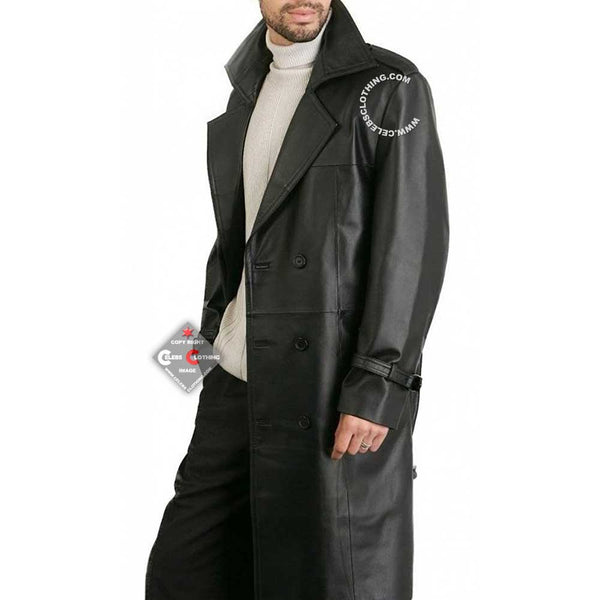 Augusta Black Double Breasted Lambskin Leather Overcoat