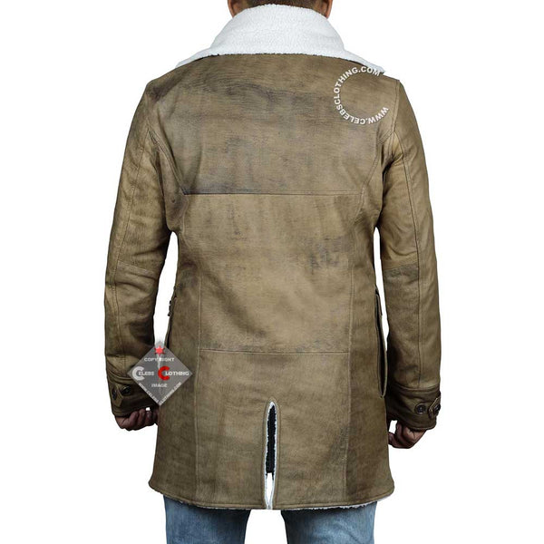 Shearling Leather Winter Jacket Coat For Men