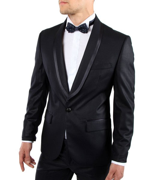 Black Slim Fit Two Button Suit