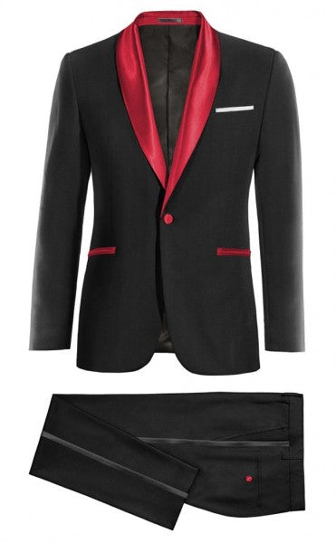 Mens Black Prom Red Shawl Lapel Tuxedo