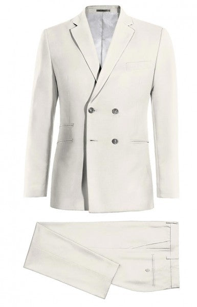 Mens Peak Lapel Double Breasted White Suit