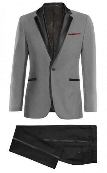 Black Peak Lapel Dark Grey Mens Tuxedo