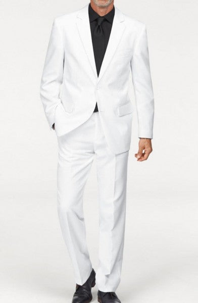 Mens Single breasted 2 button Peak Lapel Linen White Suit