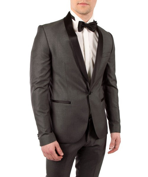 Mens Shawl Lapel One Button Charcoal Tuxedo