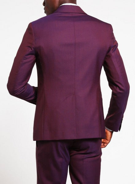 Mens Wedding 1 Button Wide Peak Lapel Purple Suit