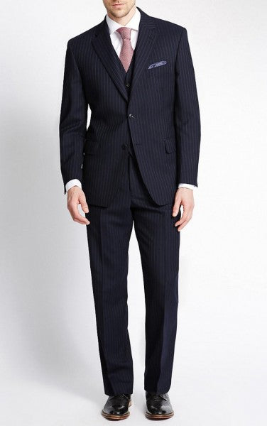 3 Piece Notch Lapel Pinstripe Navy Blue Suit