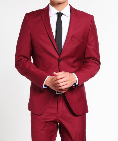 Notch Lapel Mens Red Prom 2 Button Suit