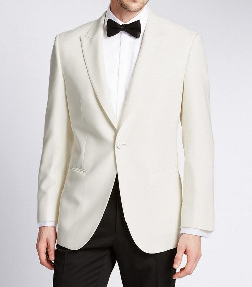 Mens Wide Peak Lapel White Dinner 1 Button Jacket