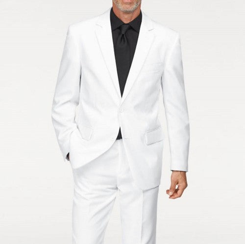 bottom price a great variety of models clearance prices Mens Single breasted 2 button Peak Lapel Linen White Suit