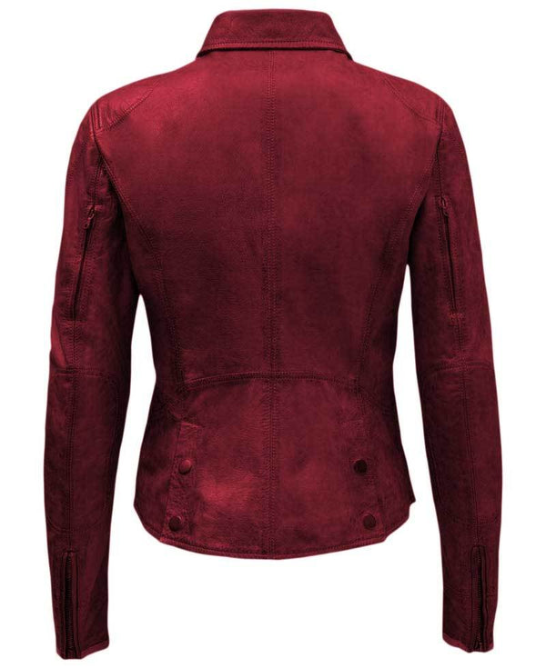 Ramsey Womens Slim Fit Red Leather Biker Jacket