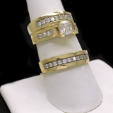 Trio de Matrimonio de Oro 10KT/10KT Gold Cubic Zirconia Wedding Trio