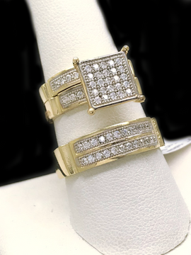 Trio de Matrimonio de Oro 10KT/10KT Gold Wedding Trio