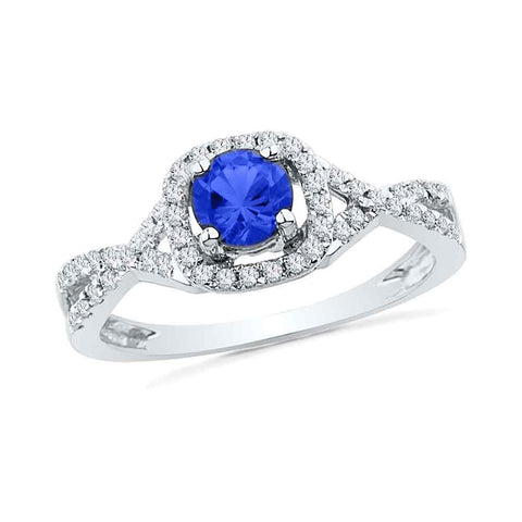 10kt White Gold Womens Round Lab-Created Blue Sapphire Solitaire Diamond Ring 1/5 Cttw