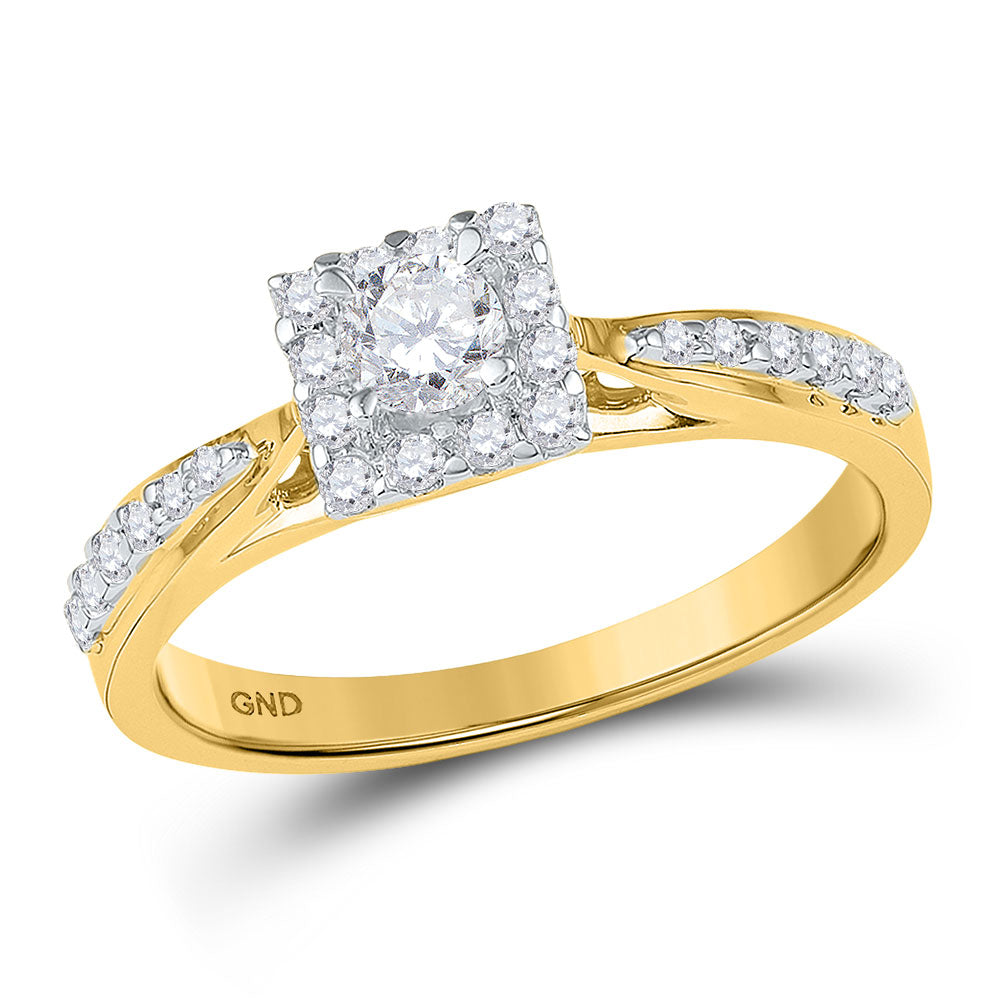 10k Yellow Gold Round Diamond Square Halo Bridal Wedding Engagement Ring 3/8 Cttw