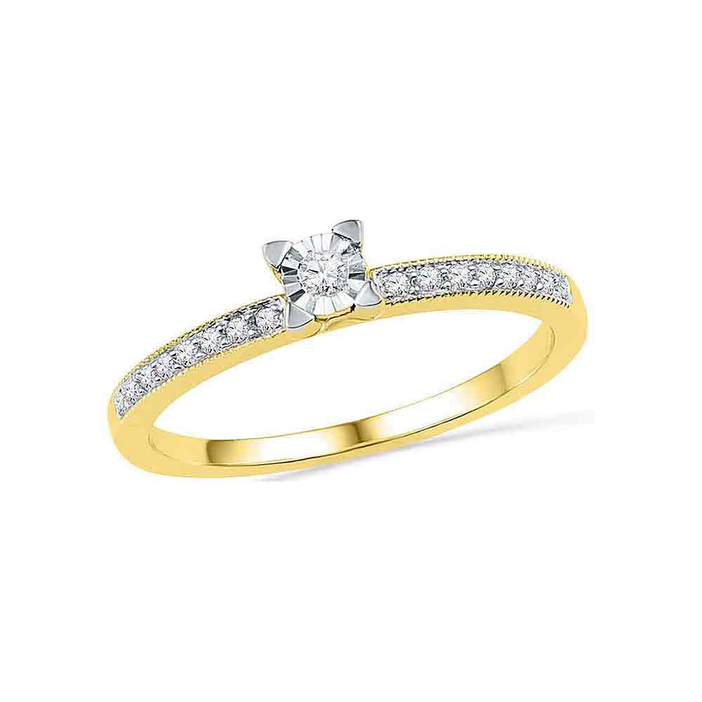 10kt Yellow Gold Womens Round Diamond Solitaire Promise Ring 1/6 Cttw