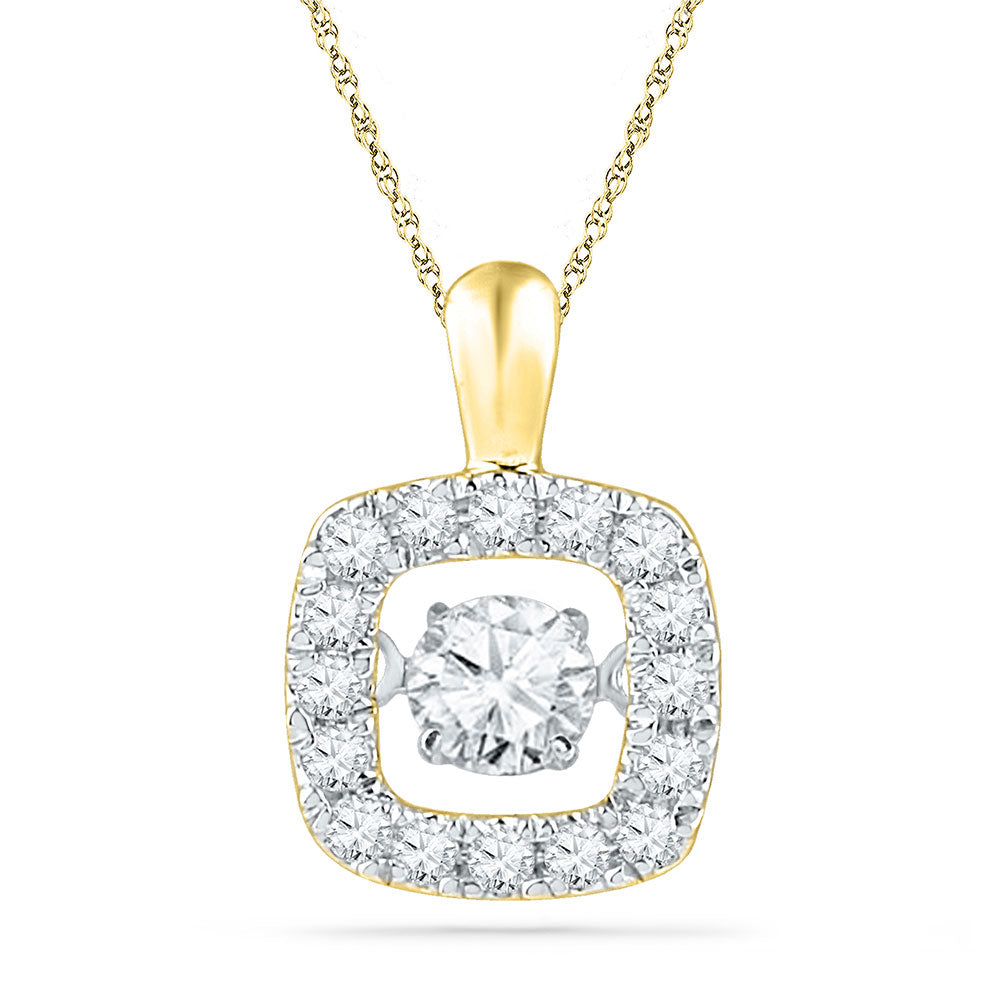 10kt Yellow Gold Womens Round Diamond Square Moving Twinkle Pendant 1/4 Cttw