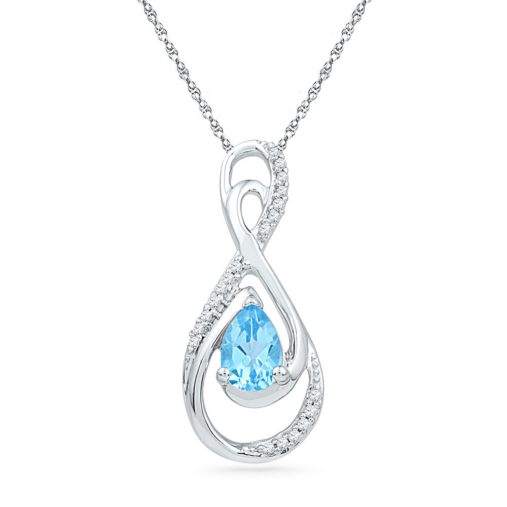 10kt White Gold Womens Oval Lab-Created Blue Topaz Solitaire Pendant 3/4 Cttw