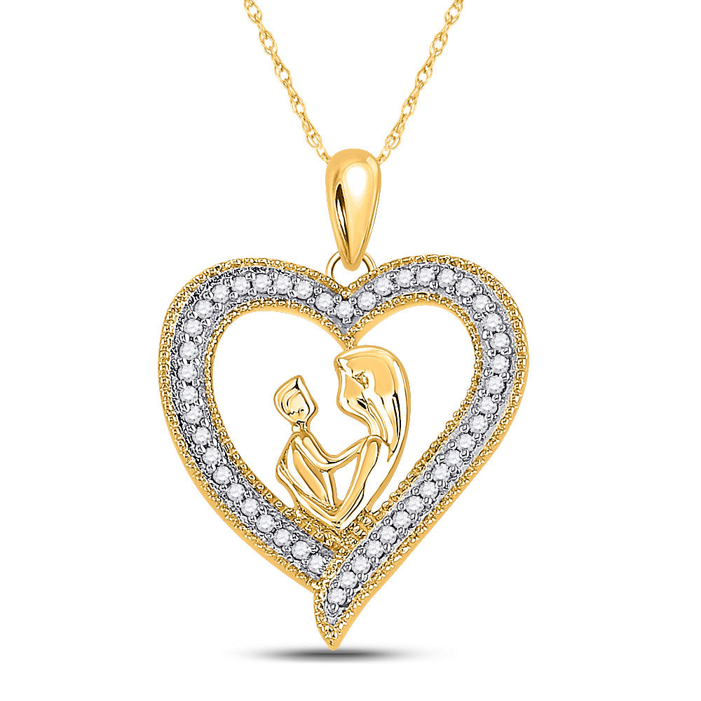 10k Yellow Gold Round Diamond Womens Heart Mother Child Embrace Pendant 1/5 Cttw