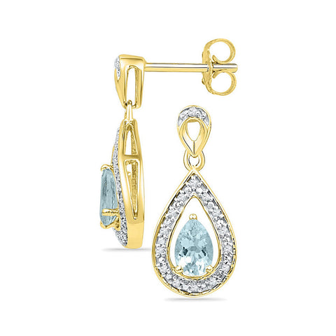10kt Yellow Gold Womens Pear Lab-Created Aquamarine Dangle Earrings 5/8 Cttw