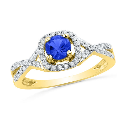 10kt Yellow Gold Womens Round Lab-Created Blue Sapphire Solitaire Diamond Ring 1/5 Cttw