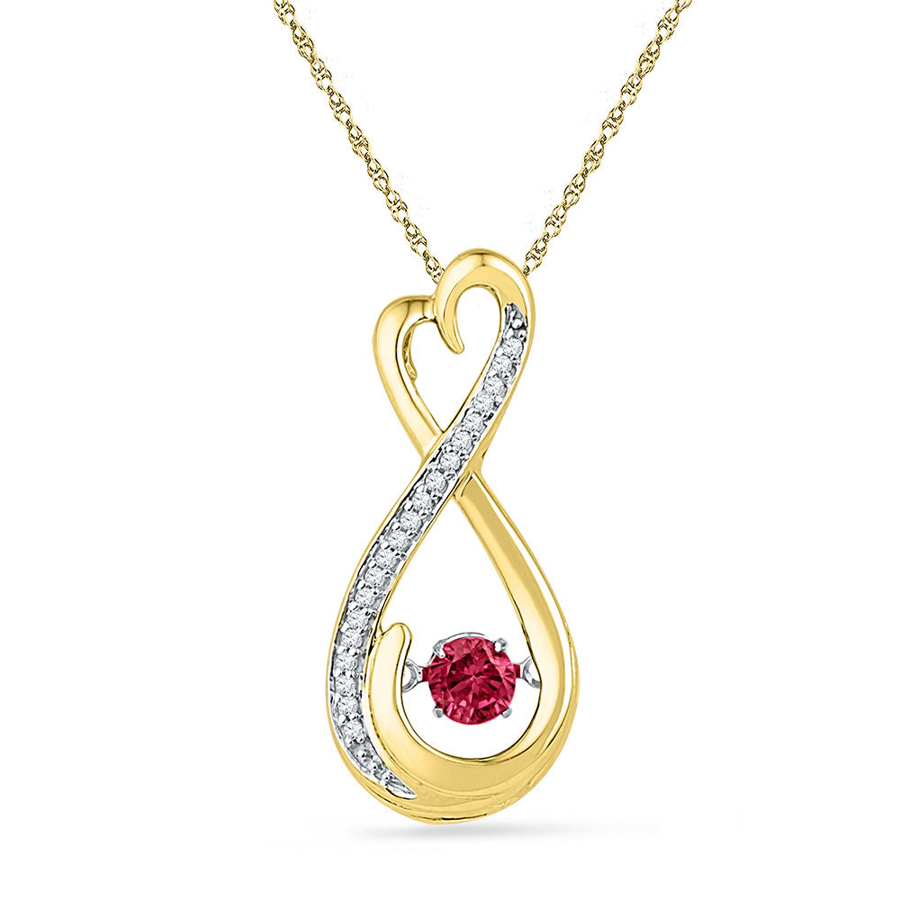 10kt Yellow Gold Womens Round Lab-Created Ruby Infinity Pendant 1/3 Cttw