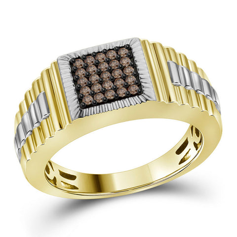 10kt Yellow Gold Mens Round Brown Diamond Square Cluster Ribbed Ring 1/4 Cttw