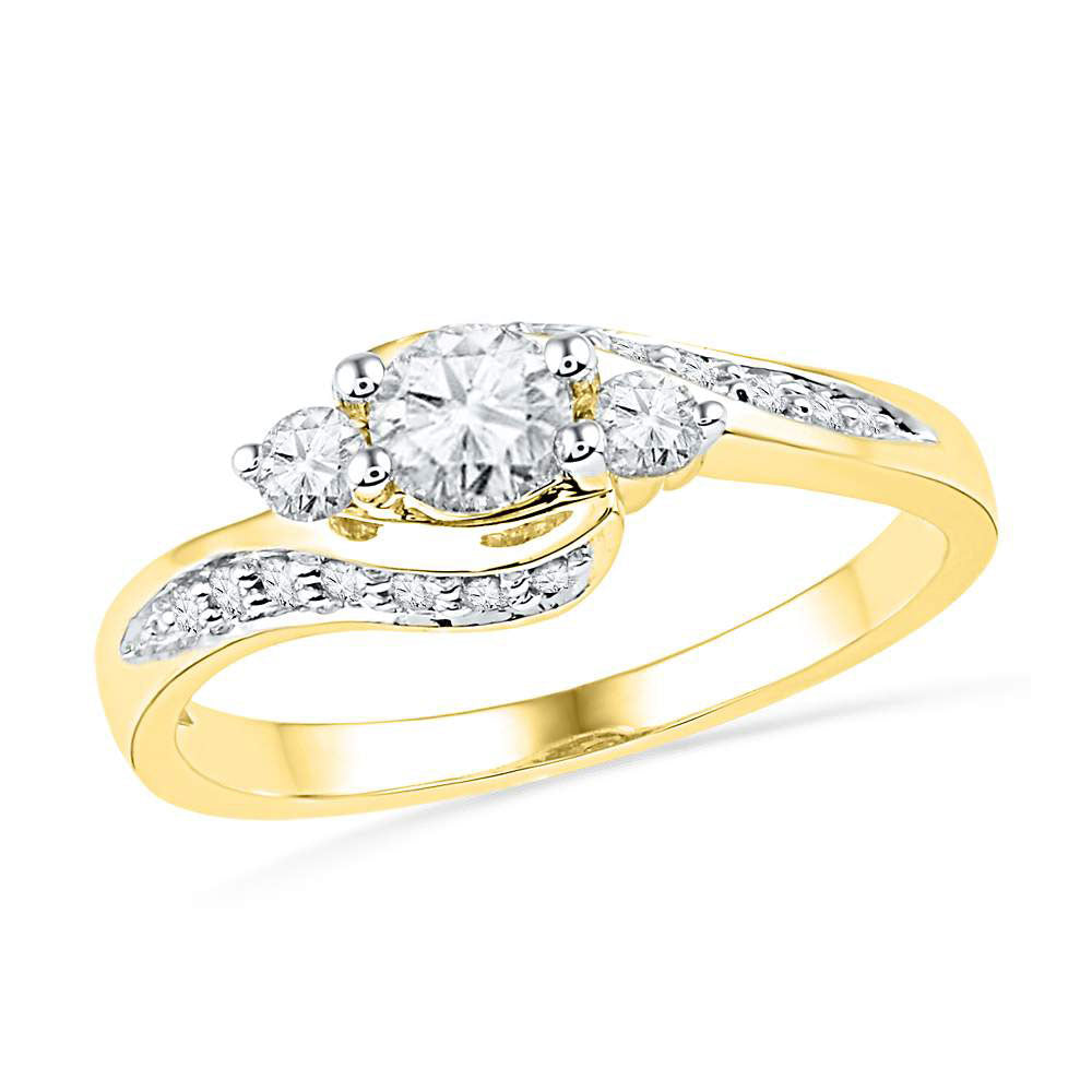 10k Yellow Gold Round Diamond Bridal Wedding Engagement Anniversary Ring 1/2 Cttw