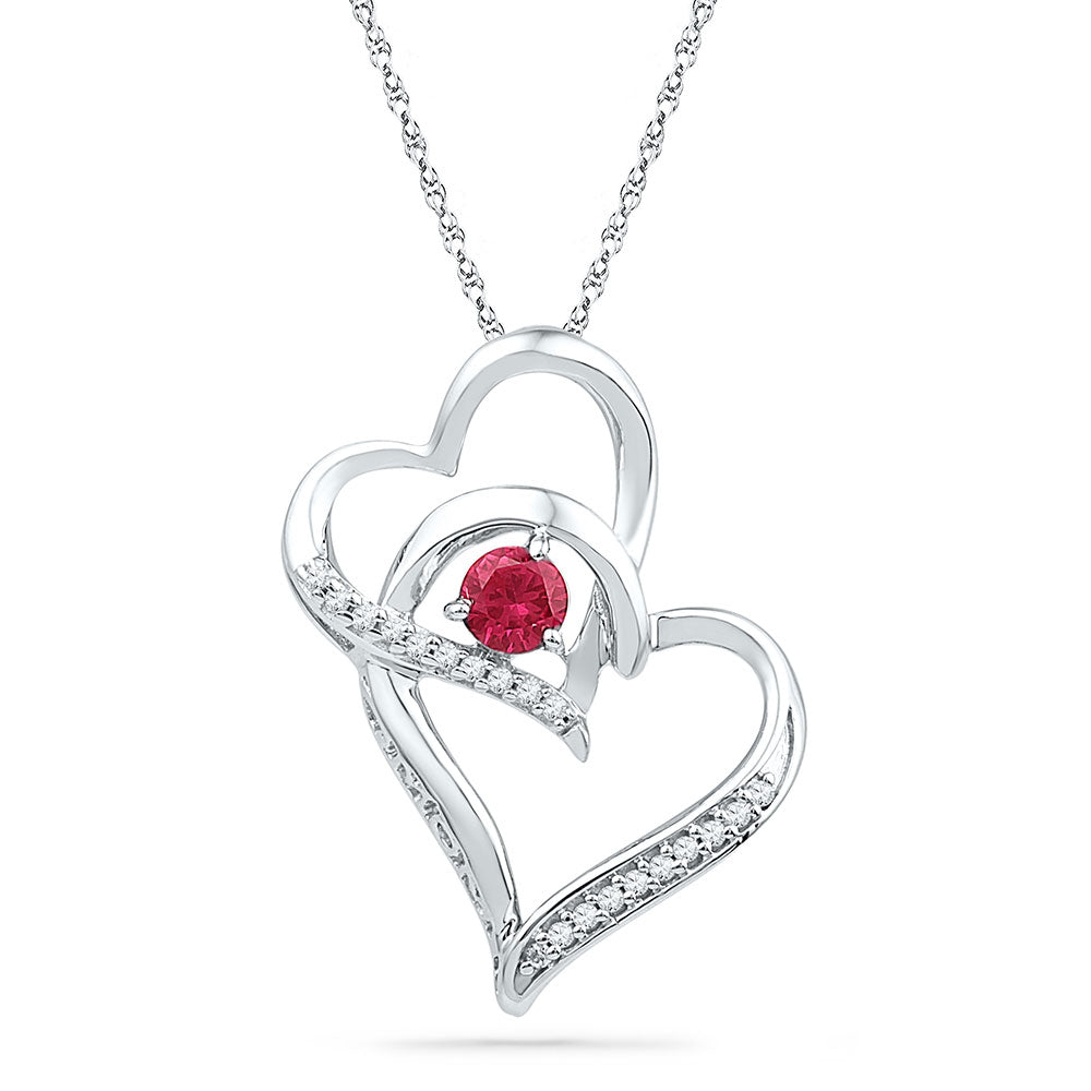 Sterling Silver Womens Round Lab-Created Ruby Double Heart Pendant 1/3 Cttw
