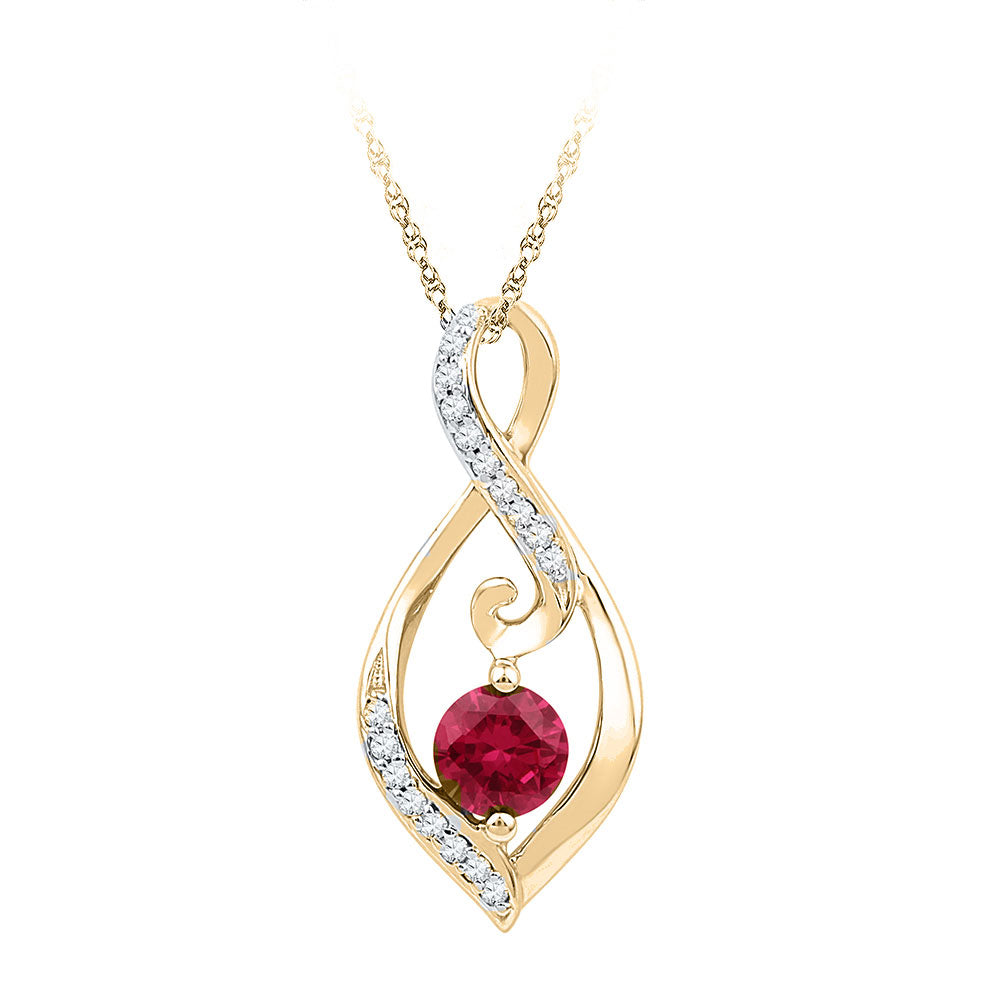 10kt Yellow Gold Womens Round Lab-Created Ruby Fashion Pendant 3/4 Cttw
