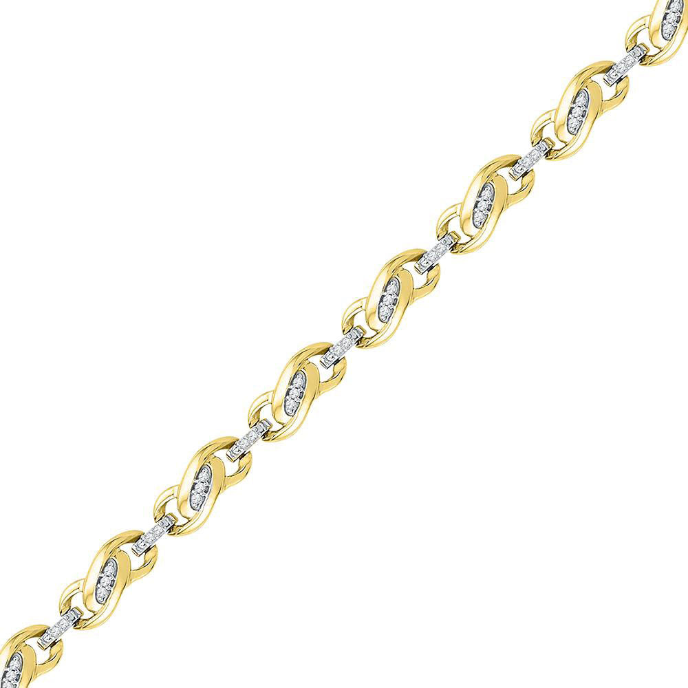 10kt Yellow Gold Womens Round Diamond Fashion Link Bracelet 1/4 Cttw