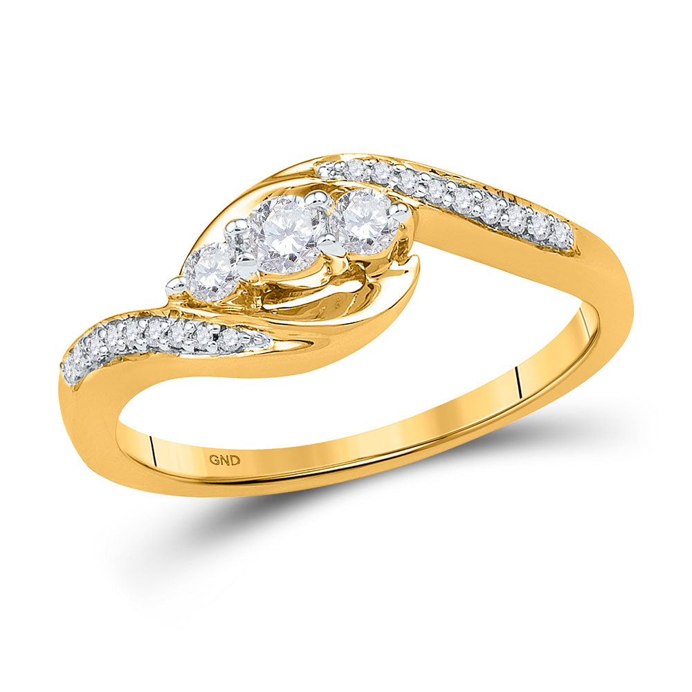 10kt Yellow Gold Womens Round Diamond 3-stone Promise Ring 1/3 Cttw