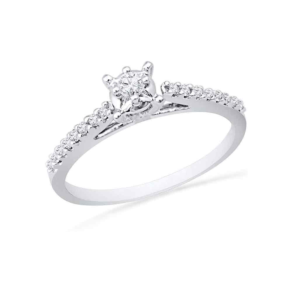 10kt White Gold Womens Round Diamond Solitaire Promise Ring 1/5 Cttw