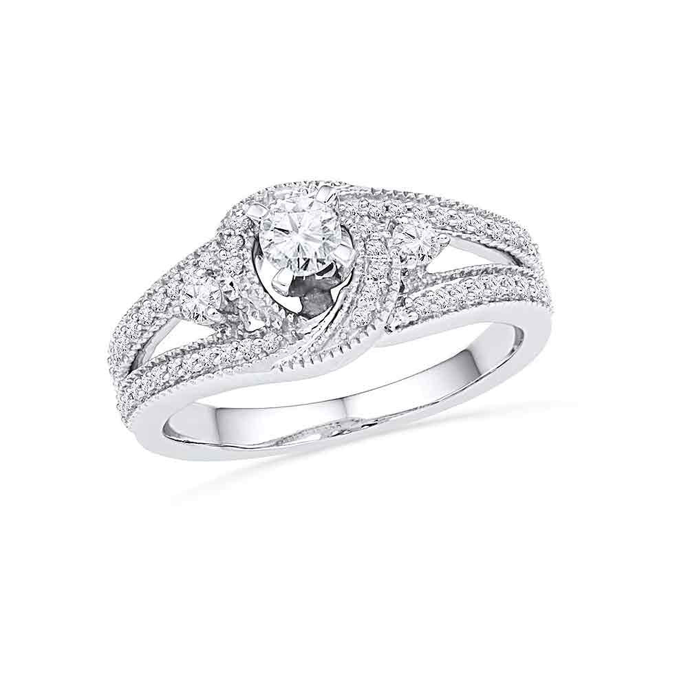 10k White Gold Round Diamond Bridal Wedding Engagement Anniversary Ring 1/2 Cttw