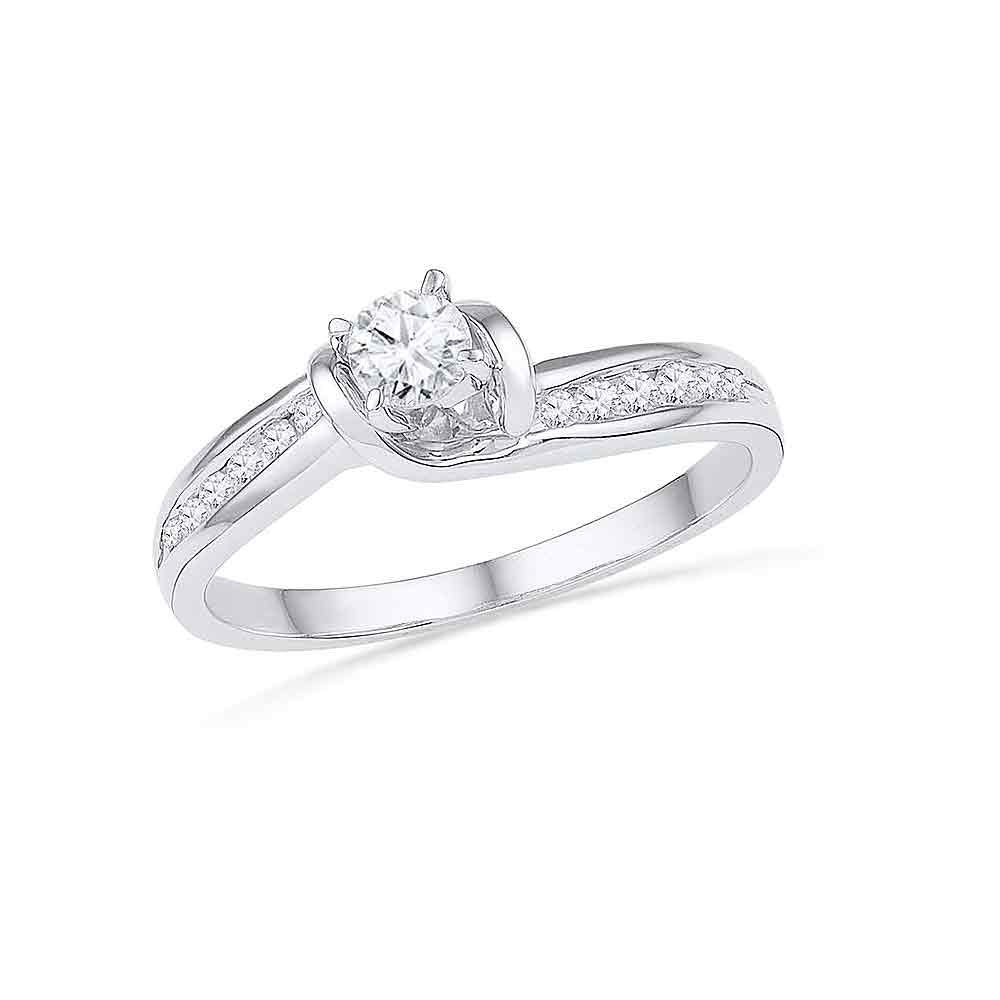 10k White Gold Round Diamond Bridal Wedding Engagement Anniversary Ring 1/3 Cttw