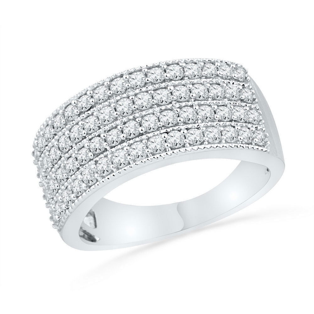 10kt White Gold Womens Round Diamond 4-Row Symmetrical Band Ring 1 Cttw