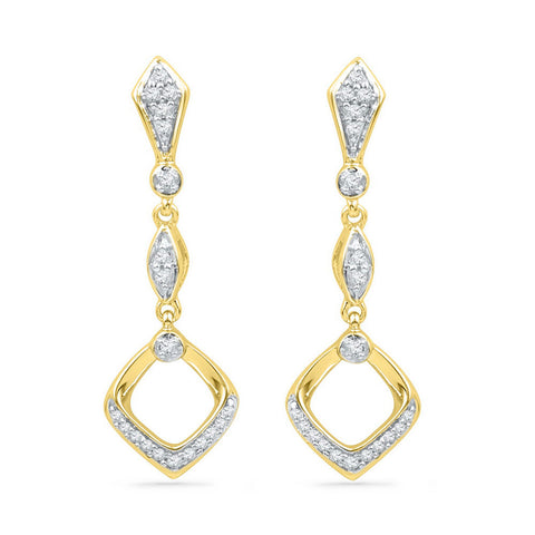 10kt Yellow Gold Womens Round Diamond Offset Square Dangle Earrings 1/6 Cttw