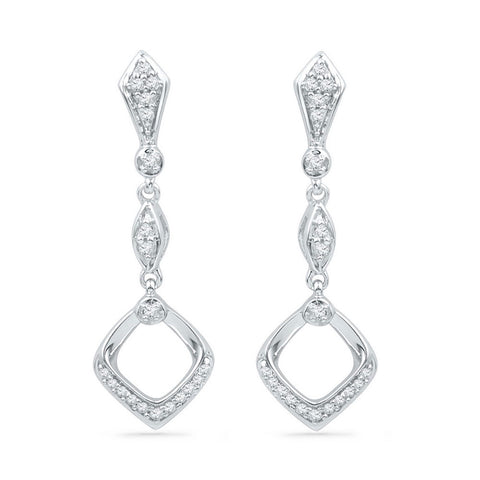 10kt White Gold Womens Round Diamond Offset Square Dangle Earrings 1/6 Cttw