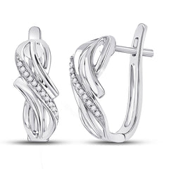10kt White Gold Womens Round Diamond Hoop Earrings 1/12 Cttw