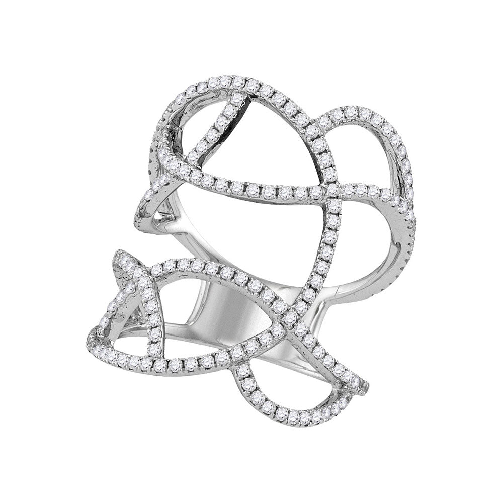 18kt White Gold Womens Round Diamond Openwork Abstract Strand Knuckle Ring 1 Cttw