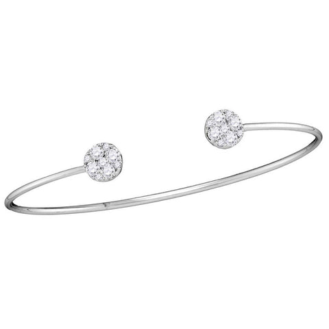 18kt White Gold Womens Round Diamond Bisected Cluster Bangle Bracelet 3/4 Cttw