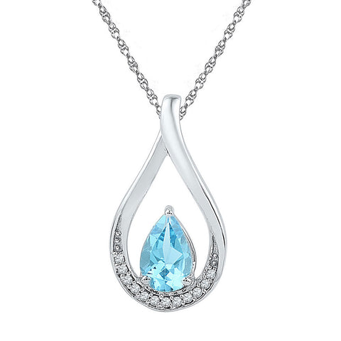 Sterling Silver Womens Pear Lab-Created Blue Topaz Fashion Pendant 1 Cttw