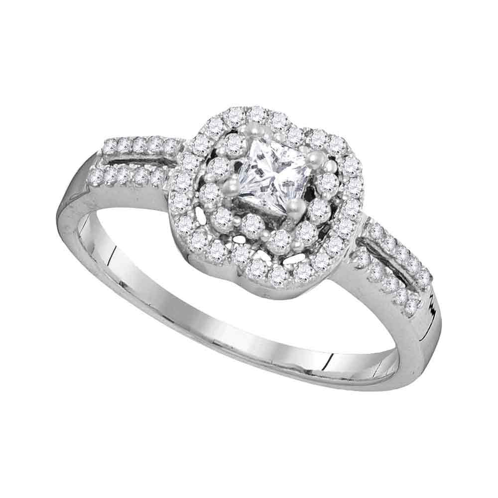 10k White Gold Princess Diamond Solitaire Bridal Wedding Engagement Ring 1/2 Cttw