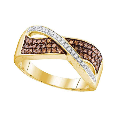 10kt Yellow Gold Womens Round Brown Diamond Crossover Band Ring 1/3 Cttw