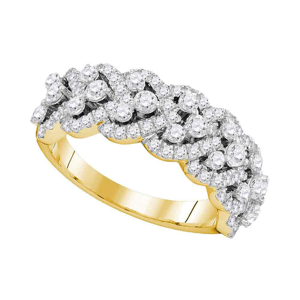 14kt Yellow Gold Womens Round Diamond Band Ring 1-3/8 Cttw