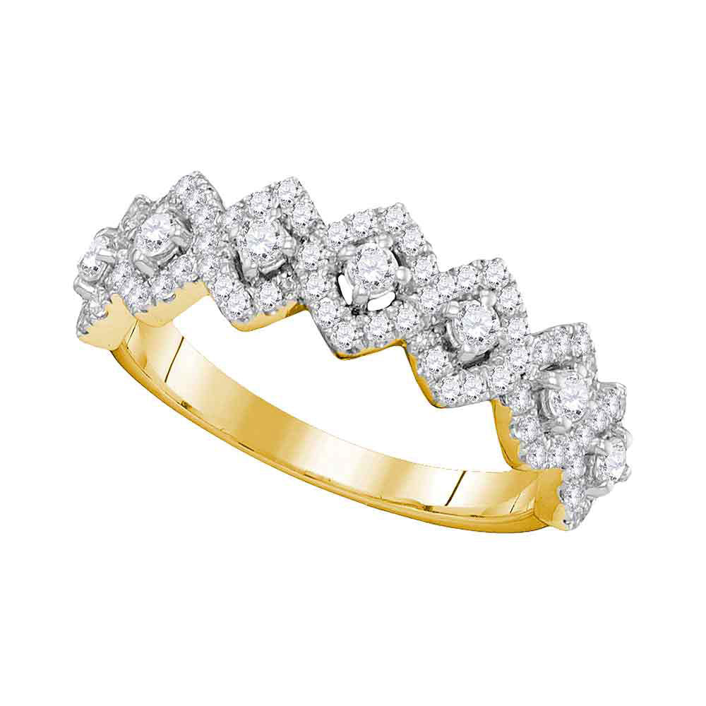 14kt Yellow Gold Womens Round Diamond Diagonal Square Single Row Band 1 Cttw