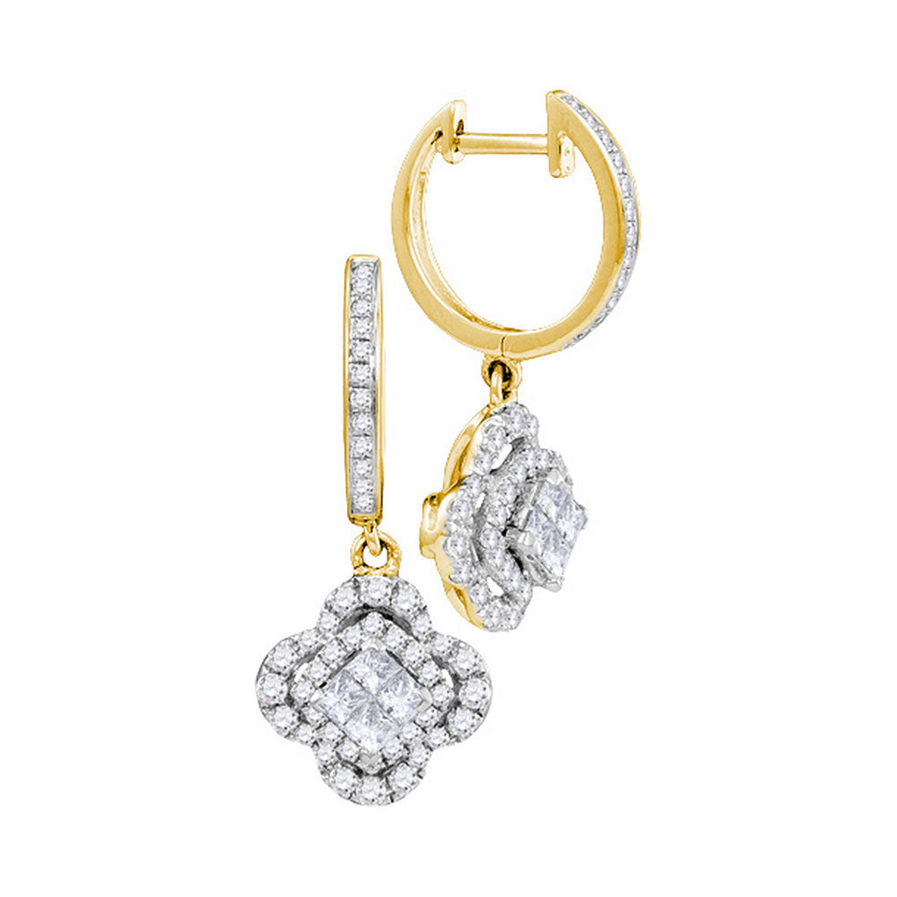 14kt Yellow Gold Womens Princess Diamond Cluster Dangle Earrings 1 Cttw