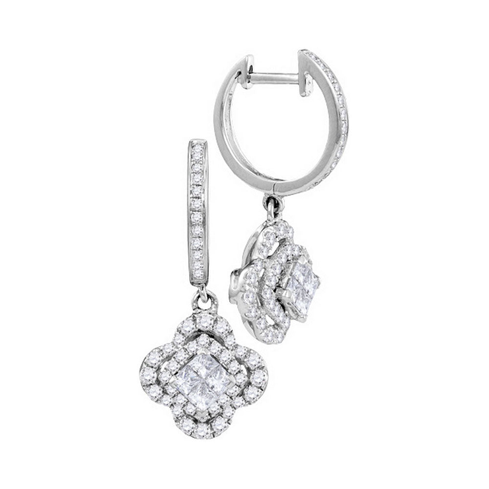14kt White Gold Womens Princess Diamond Dangle Earrings 1 Cttw