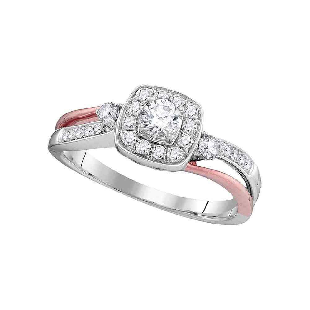 10k White Gold Round Diamond 2-tone Bridal Wedding Engagement Anniversary Ring 1/2 Cttw