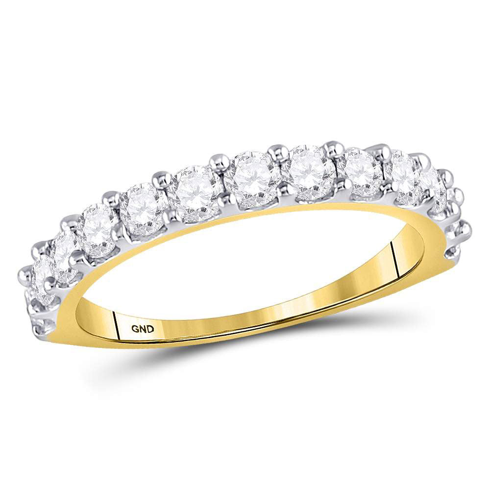14kt Yellow Gold Womens Round Diamond Single Row Band Ring 1 Cttw